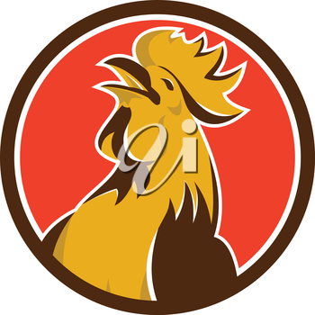 Illustration of a chicken rooster crowing viewed from the side set inside circle on isolated background done in retro style.