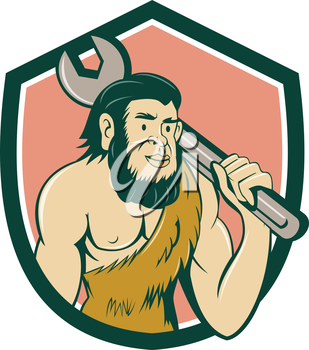 Illustration of a neanderthal man or caveman carrying spanner on shoulder set inside crest on isolated background done in cartoon style.
