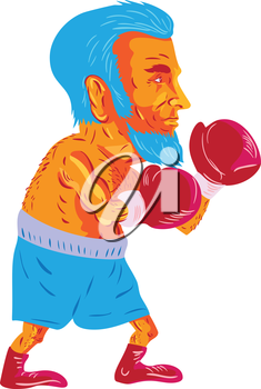 WPA style illustration of a bearded boxer boxing viewed from the side set on isolated white background done in cartoon style.