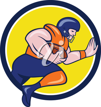 Illustration of an american football gridiron player running back charging with ball viewed from the side set inside circle on isolated background done in cartoon style.