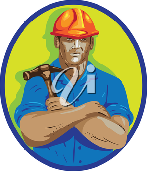 WPA style illustration of a construction worker wearing hardhat holding hammer with arms crossed viewed from front set inside circle on isolated background.