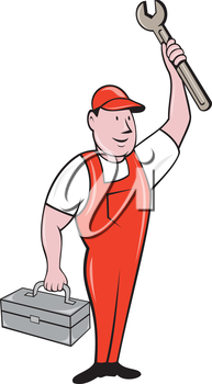 Illustration of a mechanic wearing hat and overalls standing lifting raising up spanner wrench holding toolbox looking to the side viewed from front set on isolated background done in cartoon style.