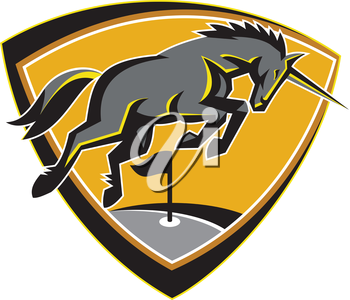 Illustration of a unicorn horse charging viewed from the side set inside shield crest with golf course flag in the background done in retro style.
