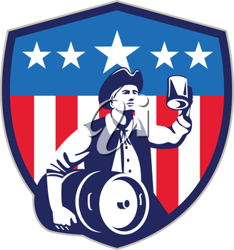 Illustration of an American Patriot holding a beer mug toasting while carrying beer keg set inside crest shield with USA stars and stripes on isolated white background done in retro style.