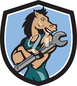 Illustration of a horse mechanic with arms crossed holding spanner looking to the side set inside shield crest on isolated background done in cartoon style.