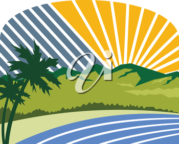 Illustration of tropical trees, mountains and sea coast set with sunburst in the background done in retro style.