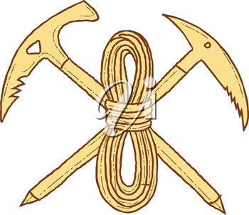 Drawing sketch style illustration of a mountain climbing pick axe crossed with rope viewed from front set on isolated white background.