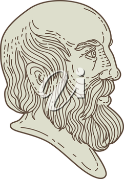Mono line style illustration of the Greek philosopher Plato head viewed from the side set on isolated white background.
