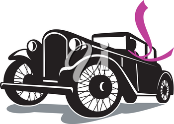 Retro style illustration of Vintage Coupe car automobile with driver wearing Flowing Scarf Retro viewed at a low angle on isolated background.