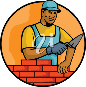 Mascot illustration of a black African American bricklayer or mason, laying bricks to construct brickwork masonry set inside circle on isolated white background done in retro style.