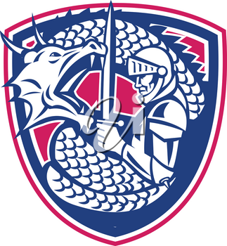 Retro style illustration of a Dragon coiling around St George Knight Fighting set inside Crest shield on isolated background.