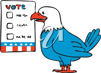 Drawing sketch style illustration of an American bald eagle about to vote beside election ballot paper on isolated white background.