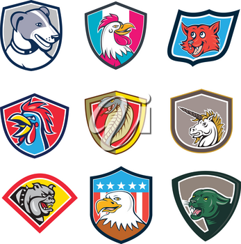 Set or collection of cartoon character mascot style illustration of heads of animals like rooster, dog, fox, cobra, unicorn, bulldog, eagle and cougar or mountain lion set in crest on isolated white background.