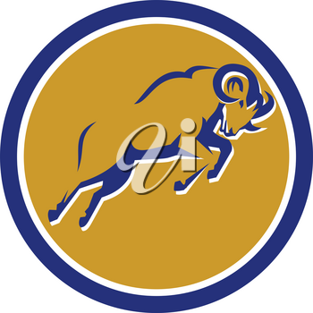 Illustration of a Bighorn Mountain Sheep goat ram Jumping viewed from side set inside Circle done in Retro style.