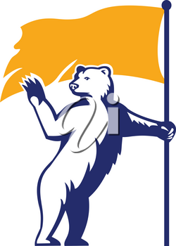 Mascot icon illustration of a polar bear waving and holding a flag looking to forward viewed from side on isolated background in retro style.