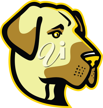 Mascot icon illustration of head of a Anatolian Shepherd dog, Anatolian Blackhead or Kangal, a  livestock guardian dog viewed from side on isolated background in retro style.