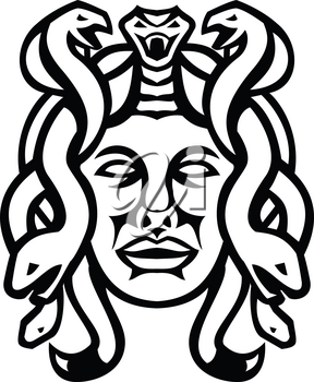 Black and white illustration of head of Medusa, in Greek mythology, a monster, a Gorgon, described as a winged human female with living venomous snakes in place of hair viewed from front in retro style.