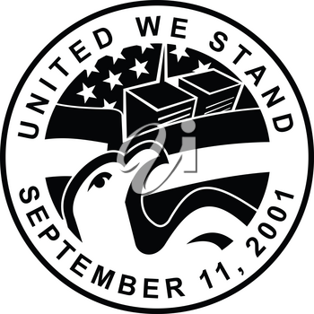 Retro style illustration of an American Eagle and World trade Center WTC building with USA star spangled banner or stars and stripes flag with words United We Stand September 11, 2001 911.