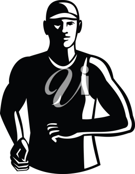 Black and White Illustration of a male athlete marathon runner running facing front set done in retro style.