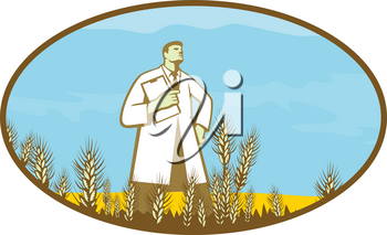 Retro style illustration of a scientist, researcher standing in middle of genetically modified wheat field set inside oval shape on isolated background.