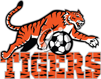 Mascot icon illustration of tiger dribbling a football or soccer ball with words tigers viewed from side on isolated background in retro style.