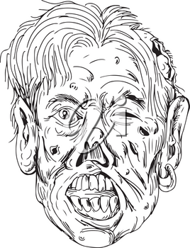 Drawing sketch style illustration of a zombie head, a fictional undead with eyes rolling and mouth chewing viewed from front on isolated background in black and white