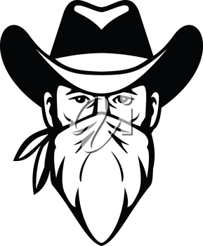 Black and White illustration of head of bandit, outlaw or highwayman wearing cowboy hat and face mask, bandana, kerchief or bandanna front view on isolated background in retro style.