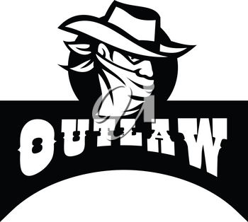 Retro style illustration of a cowboy outlaw or bandit wearing face mask or bandana covering his face with banner and text Outlaw in Black and White.