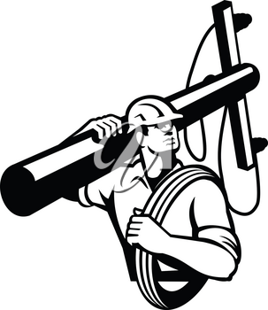 Illustration of a power lineman telephone repairman worker carrying a utility pole or electric post and cable on his shoulder looking to side done in retro style on isolated background.