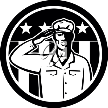 Illustration of an American soldier serviceman saluting the USA flag with stars and stripes on Memorial Day or Veteran's Day in the background set inside circle done in retro Black and White style.