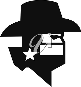 Black and White style illustration of head of Texan bandit or outlaw wearing a cowboy hat, mask or bandana withTexas Lone Star flag viewed from side on isolated background.