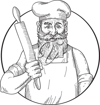 Drawing sketch style illustration of a hipster baker with full beard holding a rolling pin viewed from front on isolated white background done in black and white.