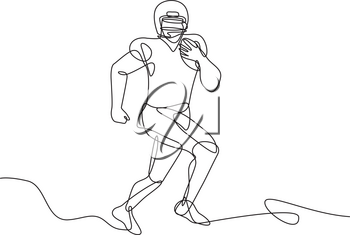 Continuous line drawing illustration of an an American football running back, wide receiver, quarterback or tight end running with ball done in sketch or doodle style.