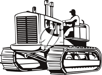 Retro woodcut style illustration of a vintage large heavy tractor or tracked heavy equipment viewed from side on isolated background done in black and white.