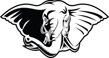 Black and white retro mascot style illustration of an elephant with long tusks viewed from front on isolated white background.