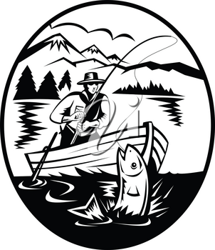 Retro black and white style illustration of a trout fisherman on boat fishing in lake with rod and reel hooking catching salmon fish with mountains in background on isolated background.
