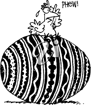 Royalty Free Clipart Image of a Chicken on a Big Egg