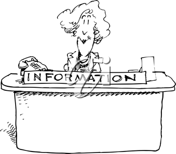 Royalty Free Clipart Image of a Woman at an Information Desk