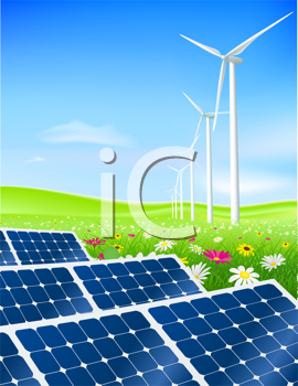 Royalty Free Clipart Image of a Windfarm and Solar Panels