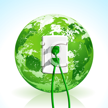 Royalty Free Clipart Image of a Plug in a Globe