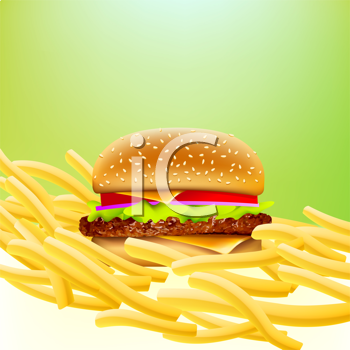 Royalty Free Clipart Image of a Burger and Fries
