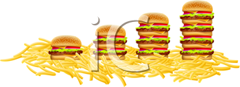 Royalty Free Clipart Image of Burgers and Fries