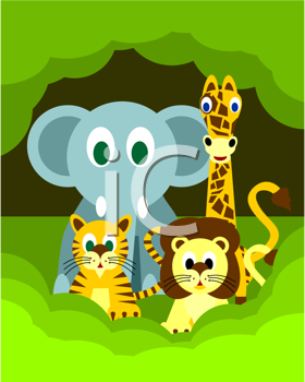 Royalty Free Clipart Image of a Group of Cartoon Animals