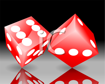 Royalty Free Clipart Image of Red Dice