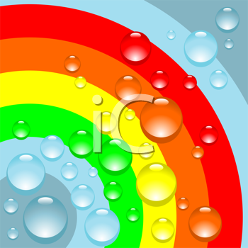 Royalty Free Clipart Image of Drops on a Rainbow Background