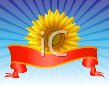Royalty Free Clipart Image of a Yellow Flower With a Ribbon