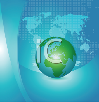 Royalty Free Clipart Image of a Globe on a Map Background