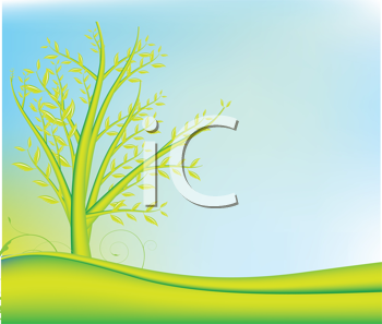 Royalty Free Clipart Image of a Landscape With a Tree