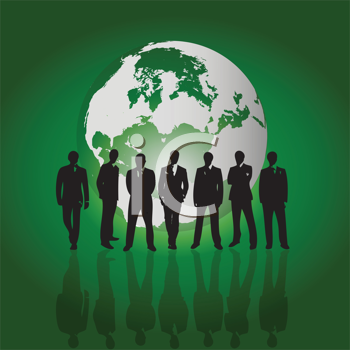 Royalty Free Clipart Image of Silhouetted Men in Front of a Green and White Globe