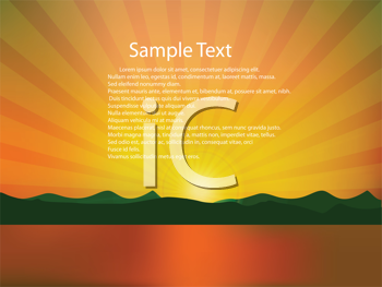Royalty Free Clipart Image of a Golden Landscape